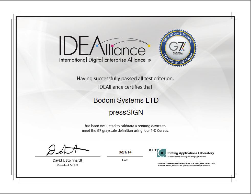 IDEAlliance® awards pressSIGN 6 G7® System Certification